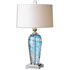 Andreas Clear Blue Glass and Polished Nickel One Light Table Lamp