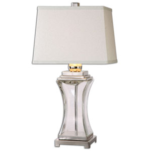 Fulco Polished Nickel One-Light Table Lamp with Glass Base