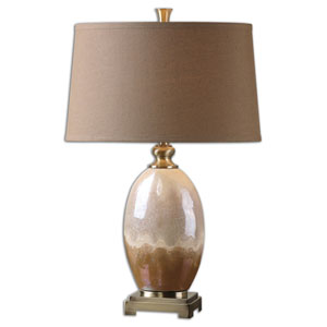 Eadric Ivory and Brown One Light Table Lamp