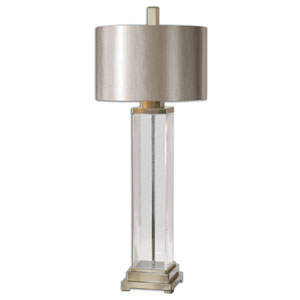 Drustan Clear Glass and Brushed Nickel One Light Table Lamp