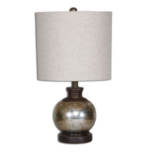 Arago Aged Mango Wood One Light Table Lamp with Antique Mercury Glass