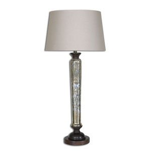 Cassini Beige One Light Buffet Lamp with Mercury Glass