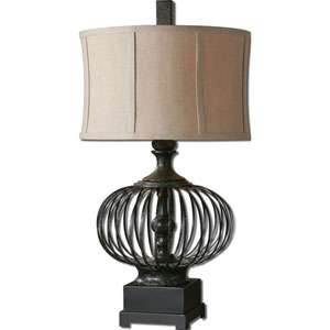 Lipioni Rustic Black Metal Cage with A Matte Black Foot Table Lamp