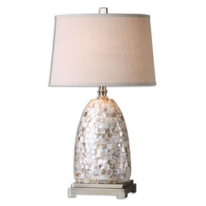 Capurso Brushed Nickel Capiz Shell One-Light Table Lamp