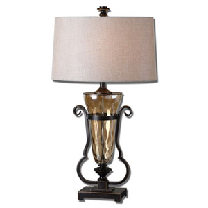 Aemiliana Oil Rubbed Bronze and Light Amber One-Light Table Lamp