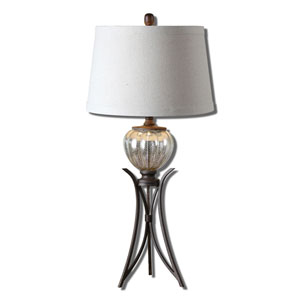 Cebrario Burnished Rustic Bronze and Crackled Mercury One-Light Table Lamp