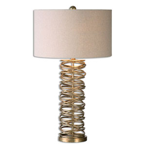 Amarey Silver Champagne One-Light Metal Ring Table Lamp