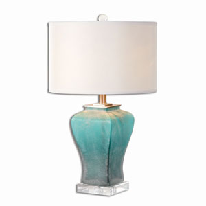 Valtorta Blue Green Glass One-Light Table Lamp