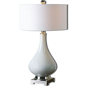 Helton Aged Ivory and Polished Nickel One-Light Table Lamp