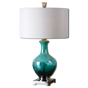 Yvonne Mottled Green and Polished Nickel One-Light Table Lamp