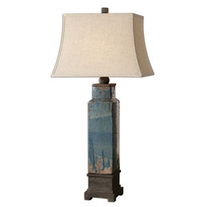 Soprana Distressed Blue Glaze One-Light Table Lamp