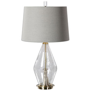 Spezzano Clear Crackled One-Light Glass Table Lamp