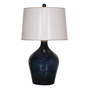 Lamone Nickel Blue Glass Lamp
