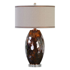 Sabastian Metallic Rust Bronze and Mercury Glass One-Light Table Lamp