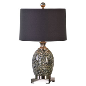 Madon Crackled Taupe Gray One-Light Table Lamp