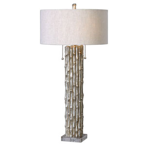 Silver Bamboo Two-Light Table Lamp