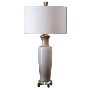 Consuela Taupe Gray and Brushed Coffee Bronze One-Light Table Lamp