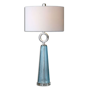 Navier Seeded Blue with Polished Nickel One Light Table Lamp with Blue Glass