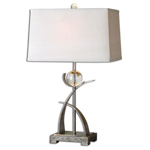 Cortlandt Curved Metal with Antiqued Silver One Light Table Lamp
