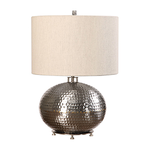 Shop Silver Hammered Metal Table Lamp Bellacor