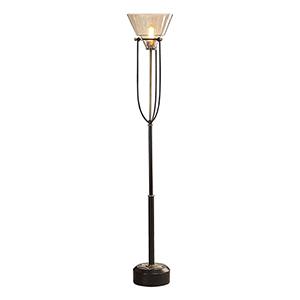 Amaleeda Amber Glass One-Light Floor Lamp