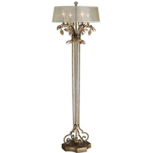 Alenya Burnished Gold Metal with Golden Teak Crystal Leaf Accents Table Lamp