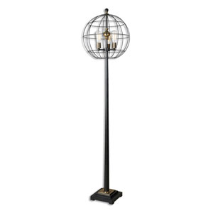 Palla Aged Black Round Cage Three-Light Floor Lamp
