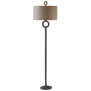 Ferro Cast Iron with Aged Rust Bronze One Light Floor Lamp