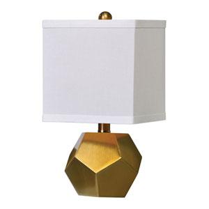 Pentagon Cubes Brushed Brass Lamps, Set of 2