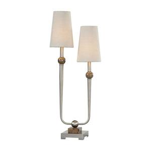 Claret Nickel Two-Light Lamp