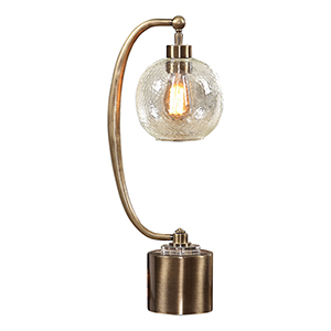 Gacinia Antique Brass One-Light Seeded Glass Globe Table Lamp