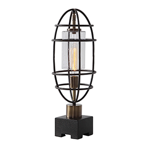 Newton Black and Antique Brass One-Light Accent Lamp