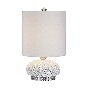 Dellen White Floral One-Light Buffet Lamp