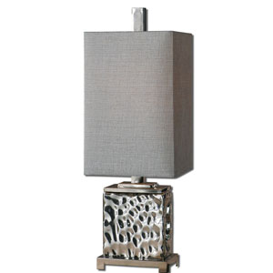 Bashan Nickel Plated Water Glass with Polished Nickel Plated Metal Details Table Lamp