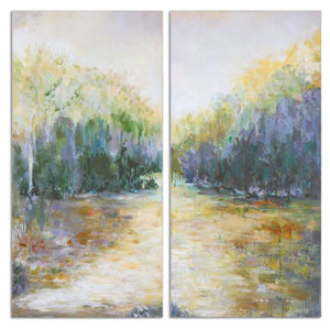 Summer View by Constance Lael-Linyard: 27 x 55-Inch Landscape Art, Set Of Two
