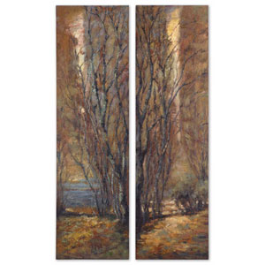 Tree Panels: 20 x 70 Hand Painted Oil on Hardboard, Set of Two