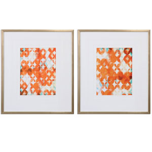 Overlapping Teal And Orange by Grace Feyock: 24 x 28-Inch Modern Wall Art, Set of Two