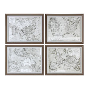 World Maps Framed Prints, Set of 4