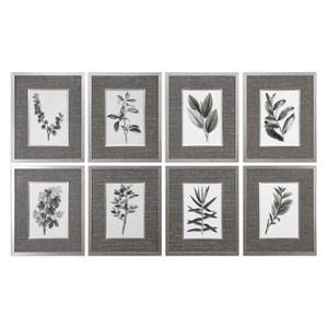 Sepia Gray Leaves Prints, Set of Eight