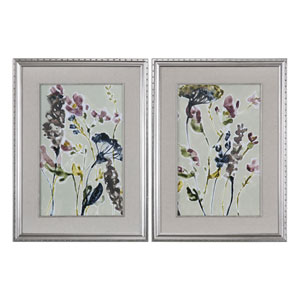 Parchment Flower Field Prints, Set of Two