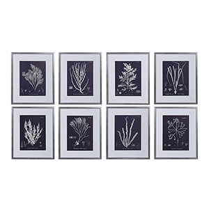 Coral On Navy Wall Art, Set of Eight