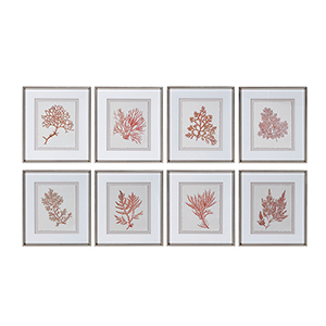 Sunrise Coral Print, Set of Eight