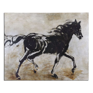Black Beauty Hand-Painted 50-Inch Horse Decorative Art