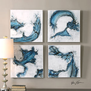 Swirls In Blue by Grace Feyock: 20 x 20-Inch Abstract Wall Art, Set of Four