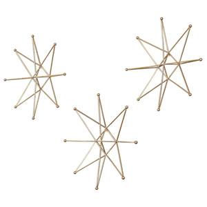 Bright Gold Stars Wall Decor, Set of Three