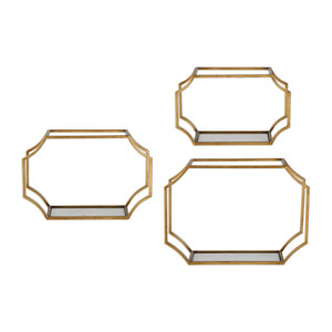 Lindee Gold Wall Shelves, Set of 3