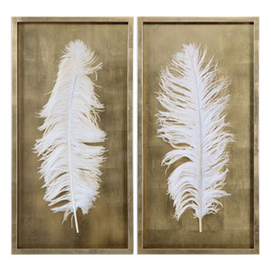 White Feathers Gold Shadow Box Wall Art, Set of 2