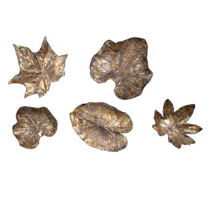 Bronze Leaves Wall Art, Set of Five