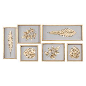 Golden Leaves Shadow Box, Set of Six