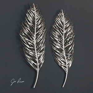Leaflets Silver Wall Art, Set of Two